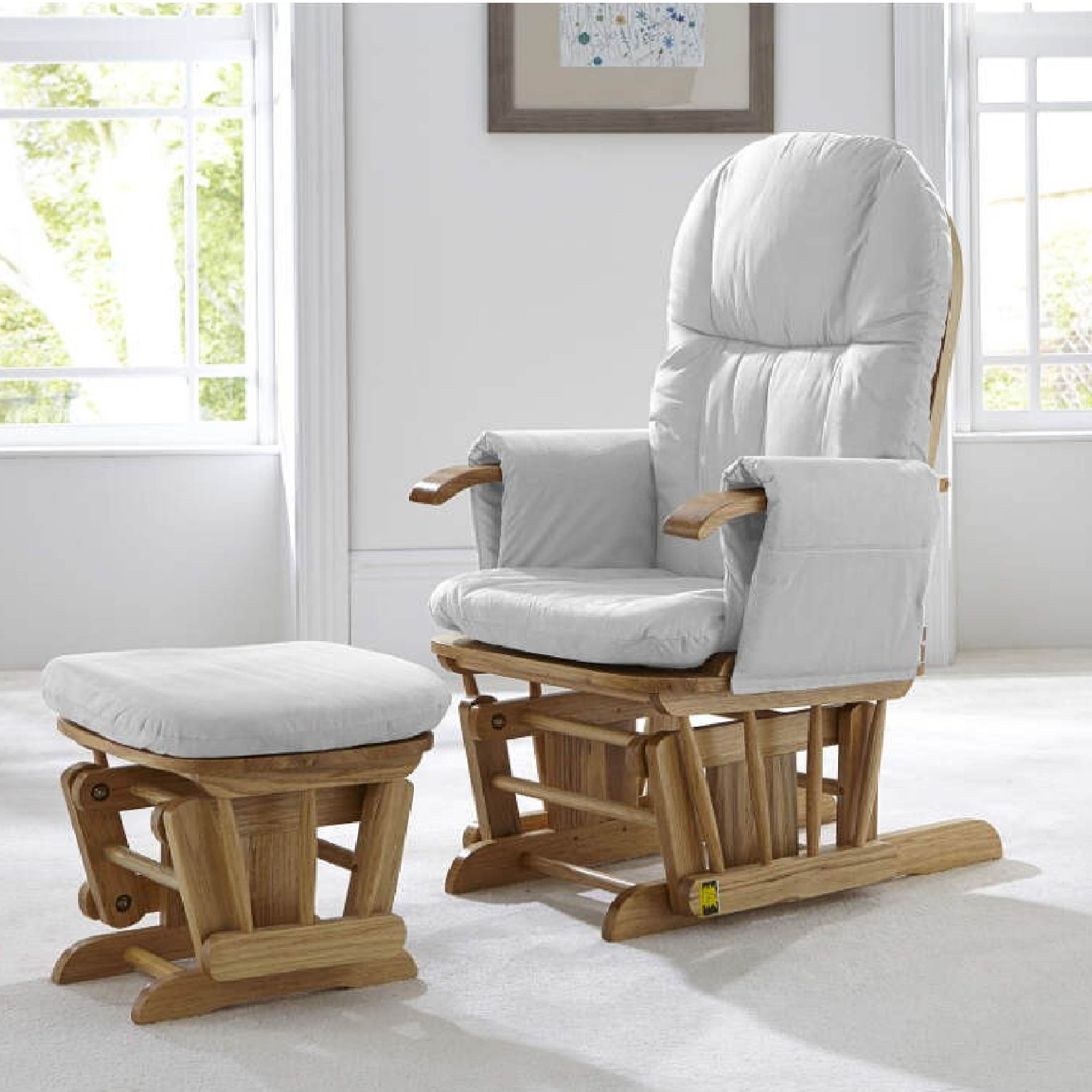 Astonishing Tutti Bambini Reclining Glider Chair Stool Natural With Grey Cushions Pabps2019 Chair Design Images Pabps2019Com