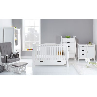 Obaby Stamford Luxe 5 Piece Nursery Room Set/Mattress - White