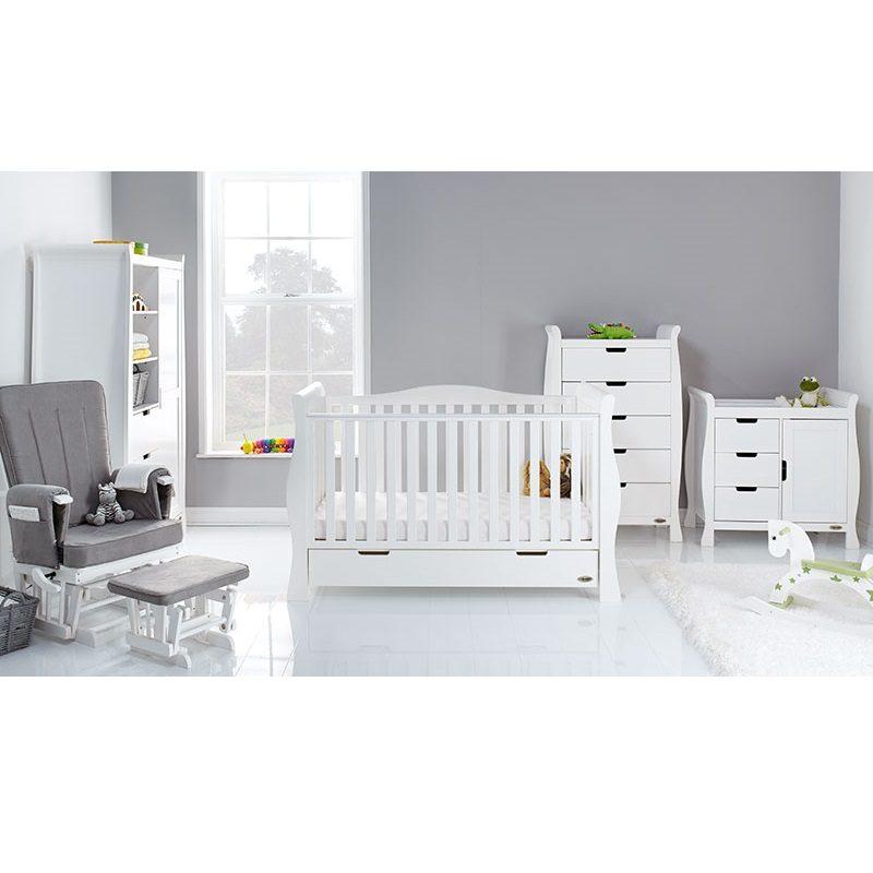 Obaby Stamford Luxe 5 Piece Nursery Room Set/Mattress - White