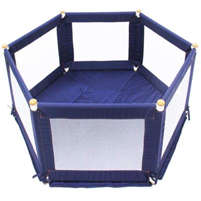 Liberty House Toys Hexagonal Blue Fabric Playpen