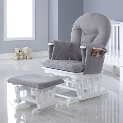 Ickle Bubba Pearl Grey Alford Glider Chair and Stool