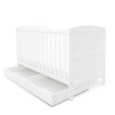 Babyhoot Coleby Cot Bed with Under Drawer White