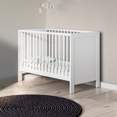 Babyhoot Grantham Mini Cot Bed Brushed White