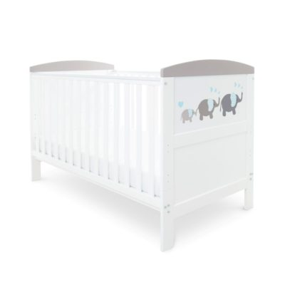 Babyhoot Style Cot Bed Elephant Love Grey and Foam Mattress