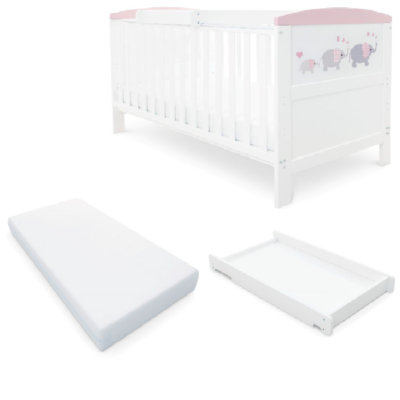 Babyhoot Style Cot Bed/Mattress/Cot Top Changer - Elephant Love Pink