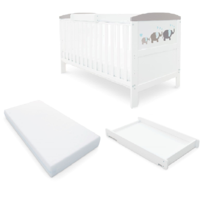 Babyhoot Style Cot Bed/Mattress/Cot Top Changer - Elephant Love Grey