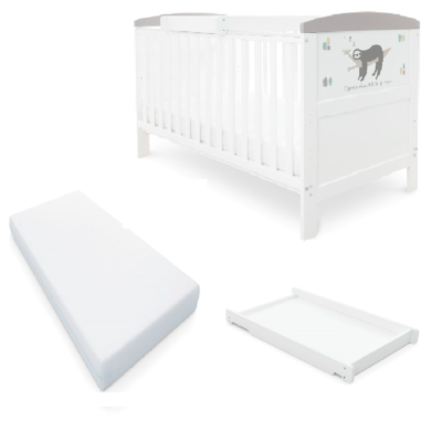 Babyhoot Style Cot Bed/Mattress/Cot Top Changer - Sloth Grey