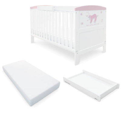 Babyhoot Style Cot Bed/Mattress/Cot Top Changer - Sloth Pink