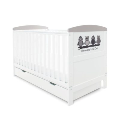 Babyhoot Style Cot Bed with Under Drawer Dream Big Little Owl
