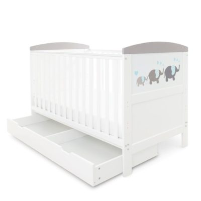 Babyhoot Style Cot Bed with Under Drawer - Elephant Grey