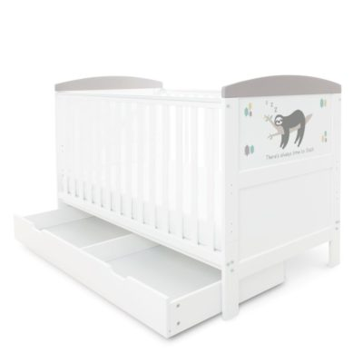 Babyhoot Style Cot Bed with Under Drawer - Sloth Grey