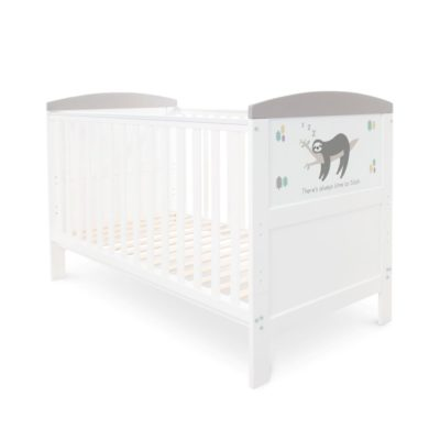 Babyhoot Style Cot Bed Sloth Grey and Foam Mattress