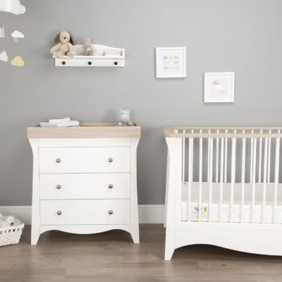 CuddleCo Clara White/Ash Cot Bed and Changer Set
