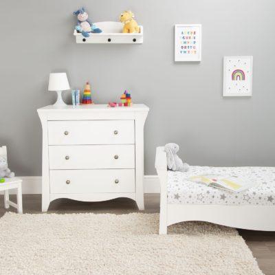 CuddleCo Clara White Cot Bed/Changer Set
