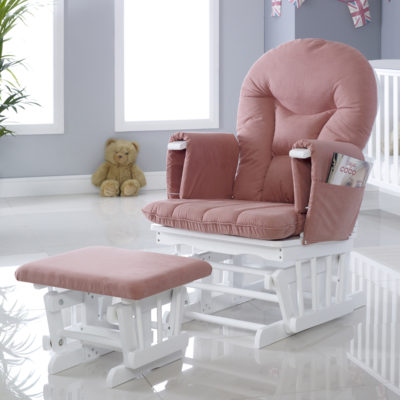 Babyhoot Alford Glider Chair and Stool - Blush Pink