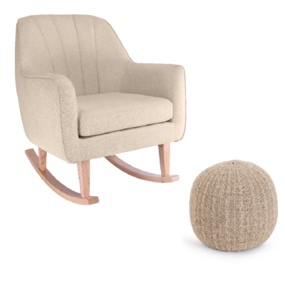 Tutti Bambini Noah Rocking Chair & Pouffe Set - Stone