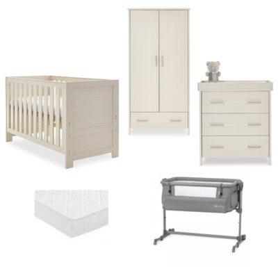 obaby nika nursery room set bedside crib bundle oatmeal