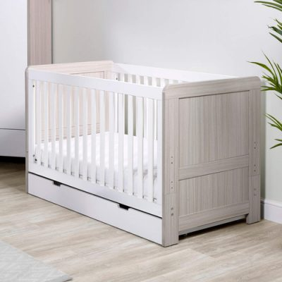 ickle-bubba-pembrey-cot-bed-ash grey and white with underdrawer