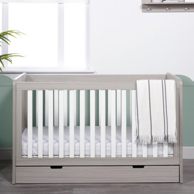 ickle-bubba-pembrey-cot-bed-ash grey white and trend with underdrawer